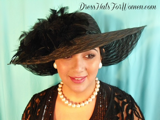 8f537160e4525 Women s Custom Black Wide Brimmed Dress Hat With Feathers