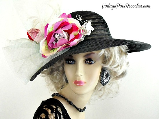 Women S Black Green Pink White Wide Brim Dress Kentucky Derby Hat e643660ef398