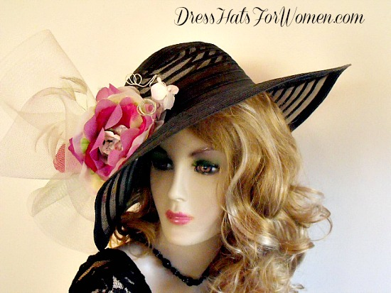 95a70fcb9e5 Women s Black Green Pink White Wide Brim Dress Kentucky Derby Hat ...