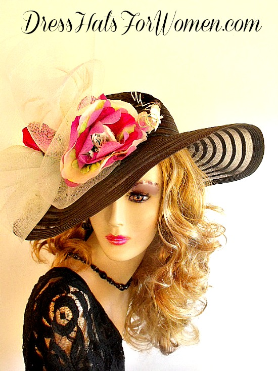 7954b551533 Black Hot Pink White Green Old Hollywood Vintage Style Wedding Church Hat  Hats