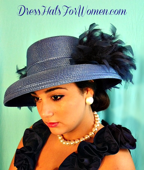 Ladies Royal Blue Dress Wedding Hat With Your Choice Of Hat And Feather  Colors 9e9e2416bf09