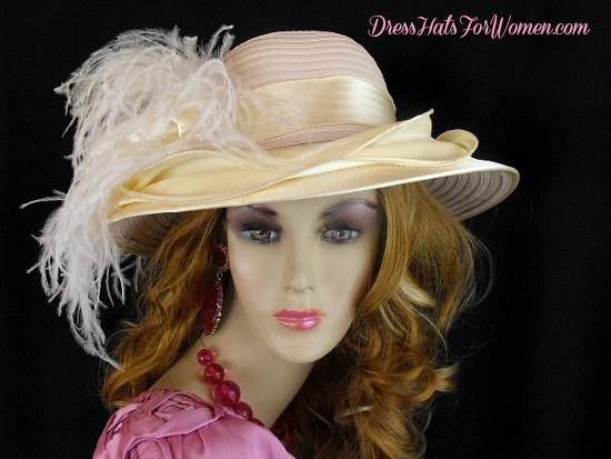 5d83609c33d Women's Soft Beige Banana Ivory Satin Wide Brim Designer Church Wedding Hat  With Feathers, Kentucky Derby Hats