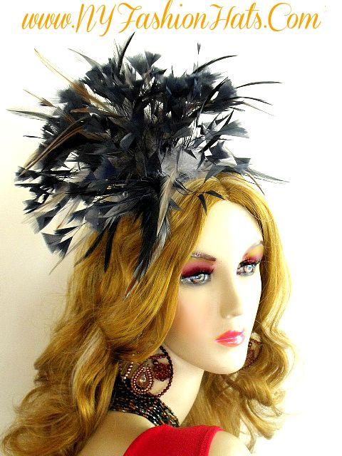 Women s Black Grey Brown Couture Wedding Fascinator Satin Hairband ... 8b3e49ac4cf7