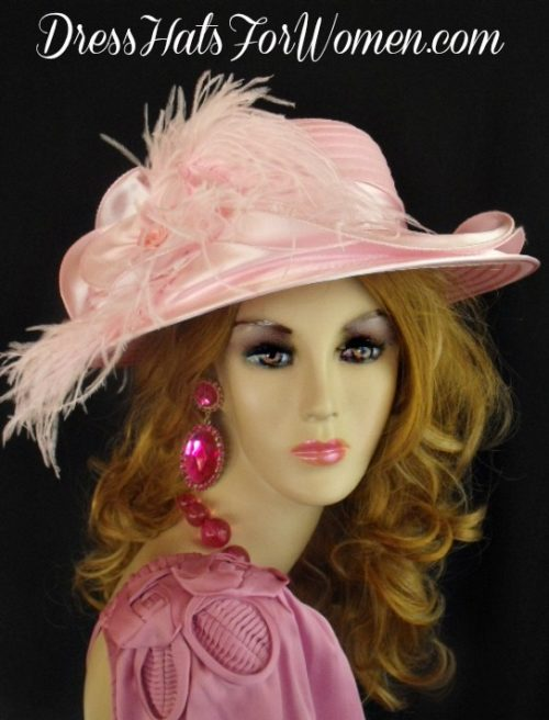 1ab033d1071 ... coupon for soft pink satin wide brim designer hat with feathers pink kentucky  derby oaks hats ...