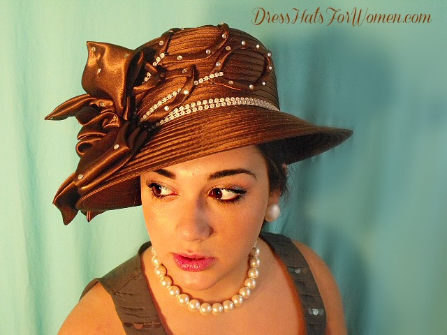 3217e29cf52 Women s Brown White Designer Satin Wedding Formal Church Hat