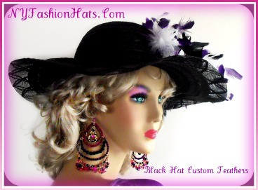 d72047609a6e2 Woman s Black White Purple Kentucky Derby Church Hat With Feathers ...