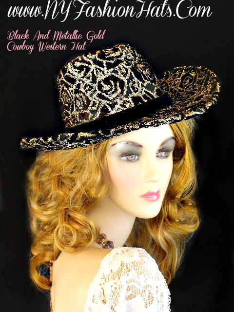 a09961160fb Ladies Black And Metallic Gold Designer Western Cowboy Hat Dress Hats