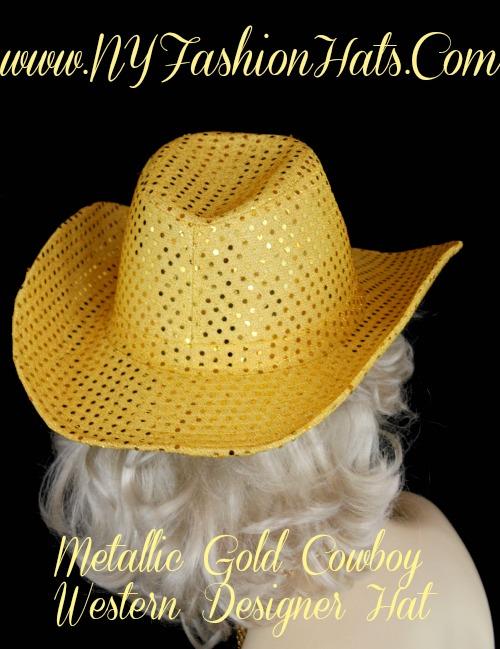 Ladies Metallic Gold Western Fashion Hat Casual Dress Cowboy Hats ... 234f863706e