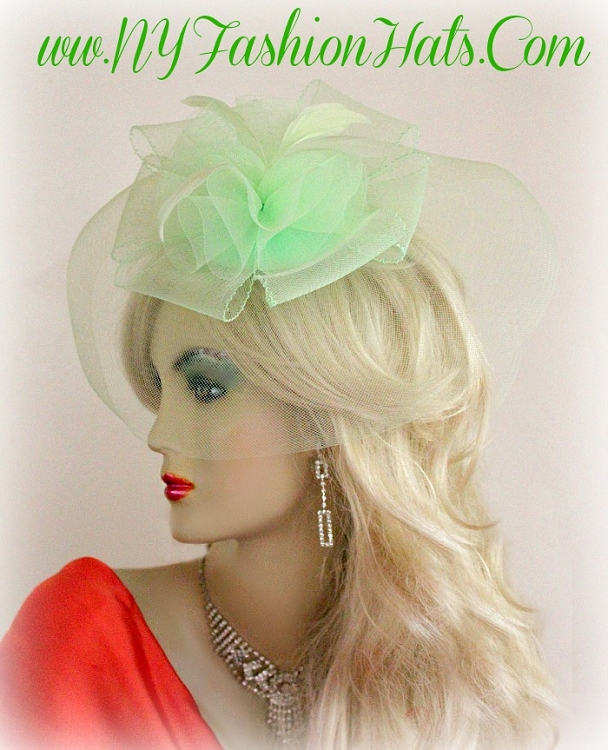 Ladies Red Mint Green White Cocktail Hat Wedding Bridal Headpiece ... 5d1c8c24808