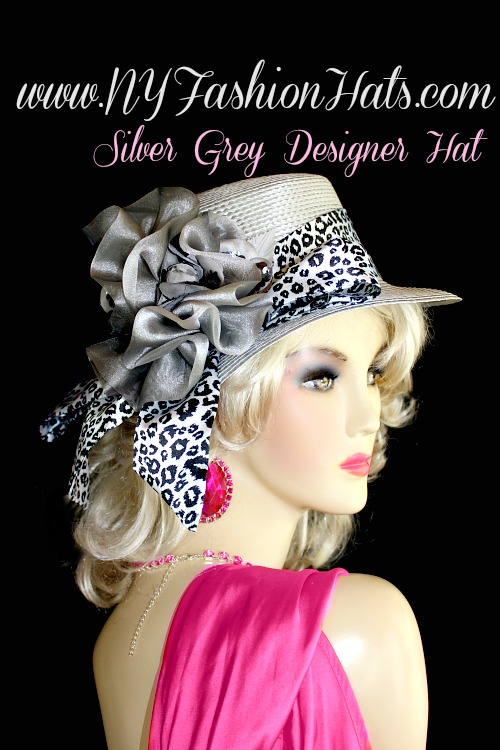 Silver Grey Casual Or Dress Designer Hat With A Black And White Sash ... d6c454722b4