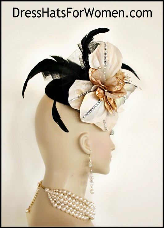 fc73770241c8e Black Champagne Taupe Beige Sinamay Straw Wedding Fascinator ...