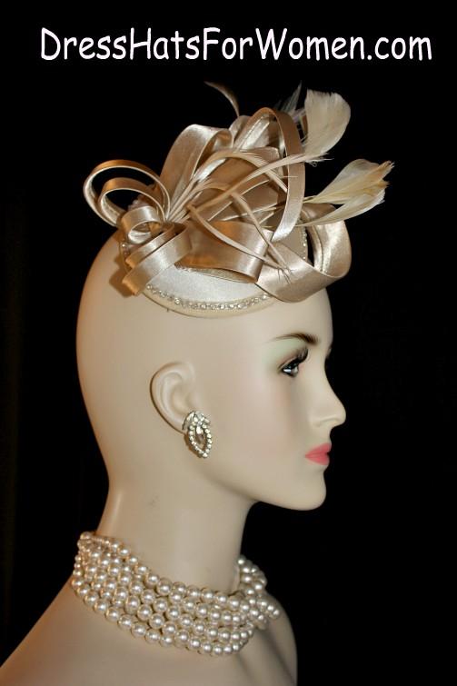 Women s Silver Grey Satin Rhinestone Wedding Fascinator Cocktail Hat ... cd1dc12bff3d