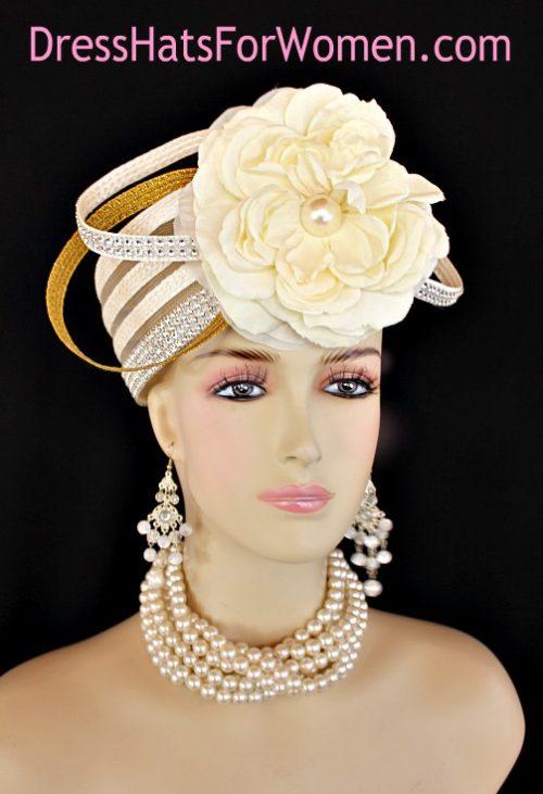 Women s Ivory Metallic Gold Pillbox Cocktail Wedding Hat 09be7adc9ad7