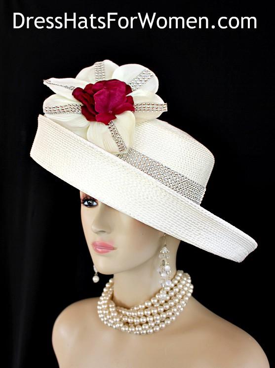 Ivory fuchsia Pink Wide Brim Kentucky Derby Hat c9539c2d45d7