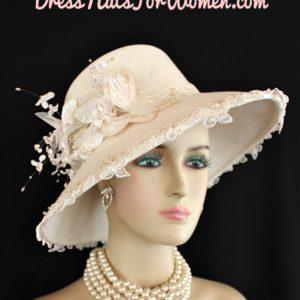 Women s Designer Ivory Winter Wool Fashion Church Wedding Hat ... 3be42f1bf95
