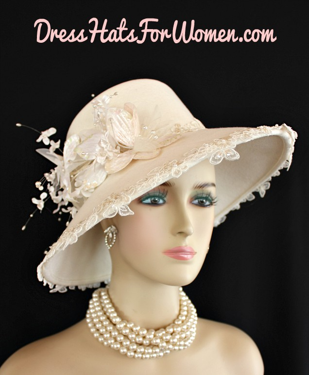 Women s Designer Ivory Winter Wool Fashion Church Wedding Hat ... ed80eb47254c