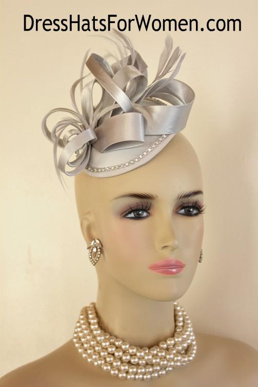 8d84b3dff5d Women s Silver Grey Satin Rhinestone Wedding Fascinator Cocktail Hat ...