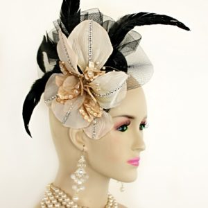 16cd4a583ae ... Designer Hats For Women  Black Beige Sinamay Straw Cocktail Hat