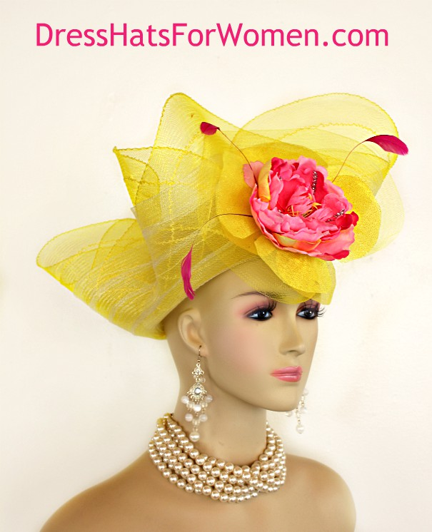 5b2c83d4219d4 Yellow Couture Lift Up Wide Brim Designer Hat