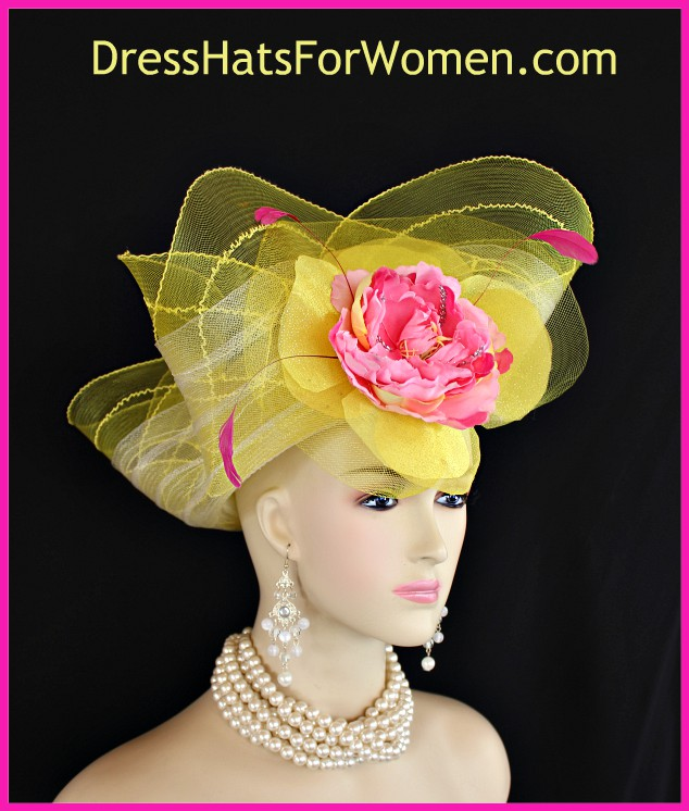 a4f90dbe91f84 Couture Yellow Hot Pink Kentucky Derby Hat