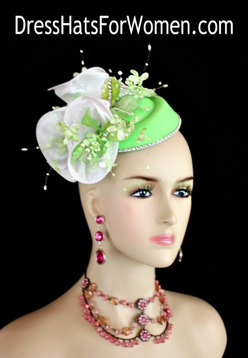 e42ace0b88641 Ladies Lime Green White Mini Felt Winter Fall Pillbox Cocktail Hat Wedding  Fascinator Bridal Headpiece