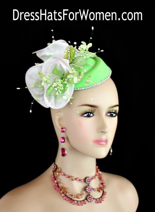 badfa61928ce4 Ladies Lime Green White Mini Felt Winter Fall Pillbox Cocktail Hat ...