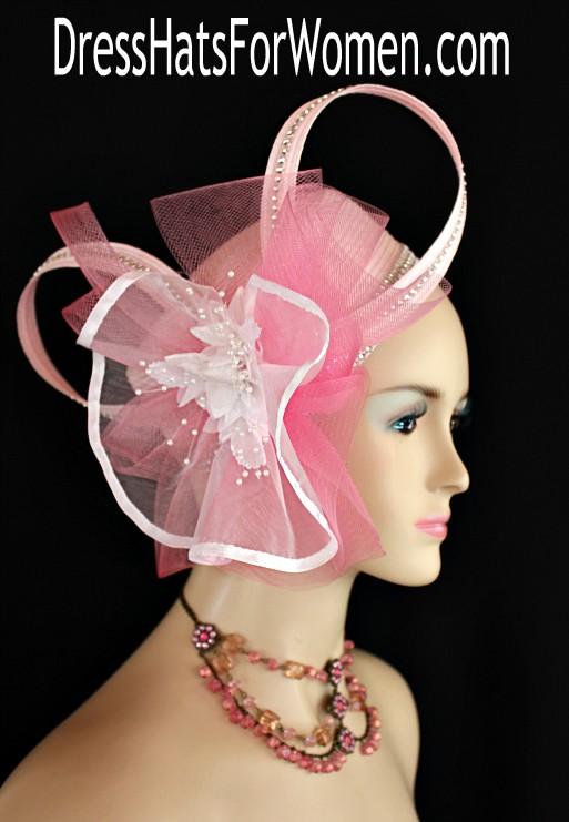 Women s Pink White Designer Cocktail Wedding Pillbox Hat Rhinestone ... 133afad9acfd