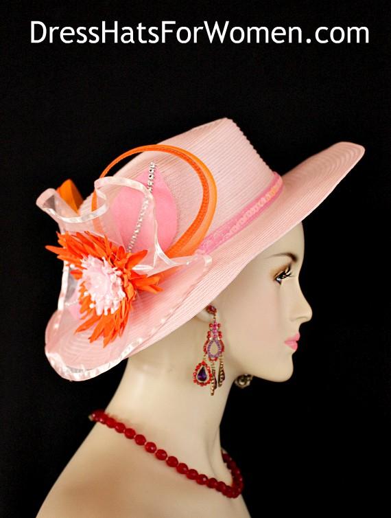 c3a935228e357 Ladies Pink Orange Kentucky Derby Hat