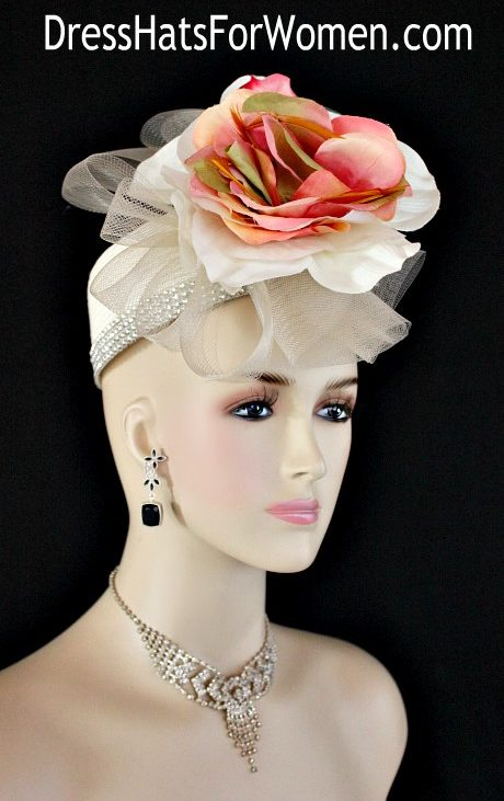 c94bb98bfd66e Ladies Ivory Coral Peach Olive Green Pillbox Cocktail Hat